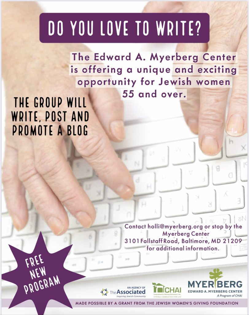 Blogging class for Jewish senior women will be starting in 2020.
